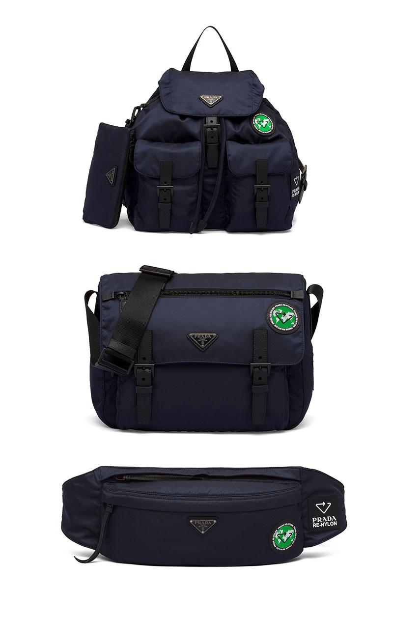 Các mẫu thiết kế túi xách Prada nữ gồm: Balo, túi đeo vai và túi bao tử (belt bag)