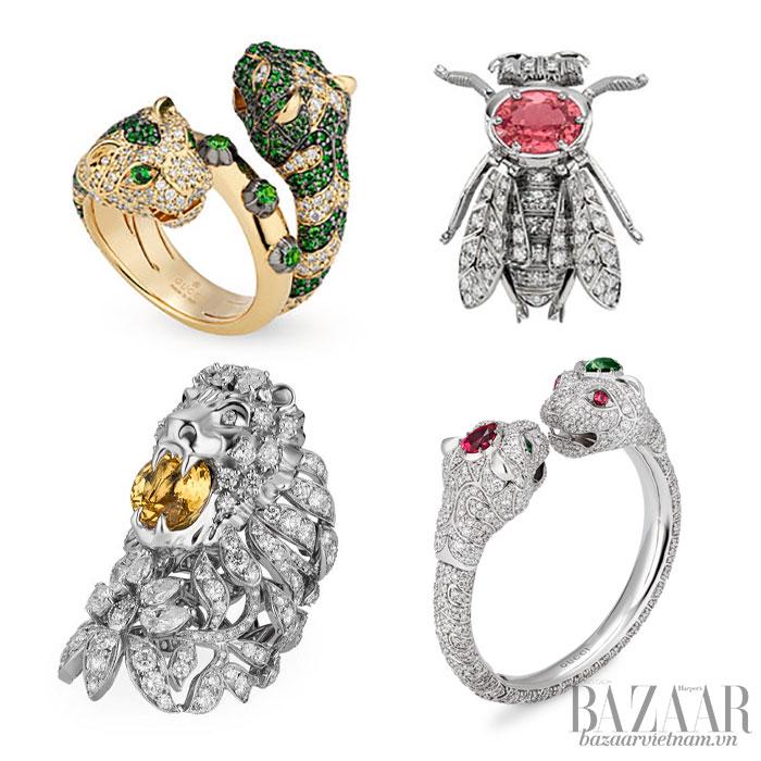 Hình tượng thú vật, từ đơn giản đến công phu, trải đều 3 theme chủ đạo của BST trang sức cao cấp Gucci