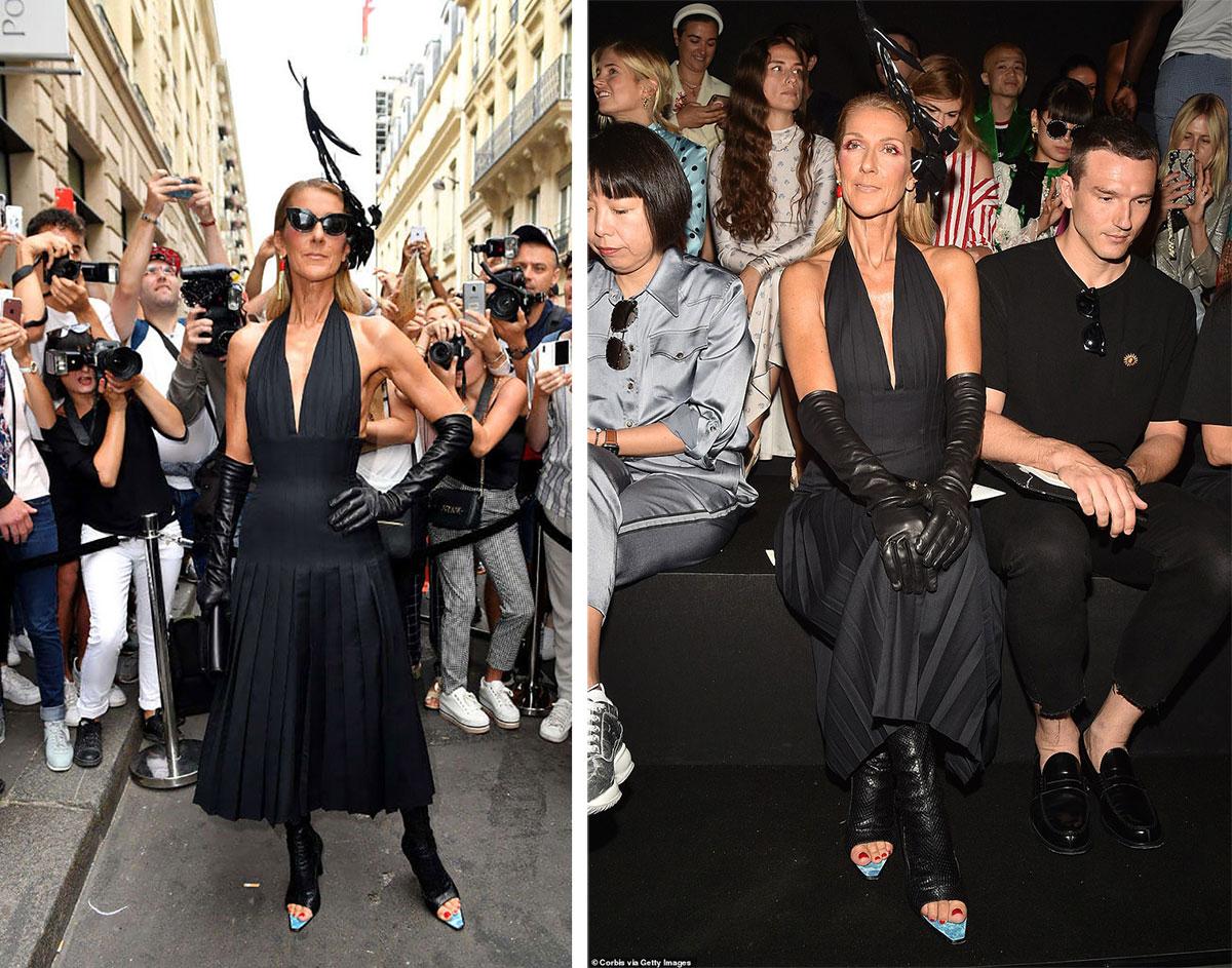 Célion Dion mặc váy Schiaparelli đến dự show diễn couture của nhà mốt. Cô chọn đôi giày mũi nhọn có phần da xanh nổi bật để tạo một điểm nhấn tinh nghịch.