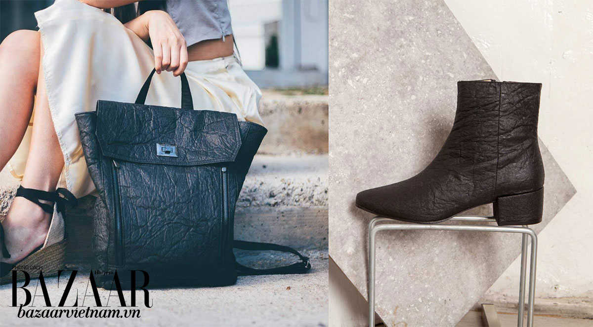Túi xách và giày dép từ chất liệu giả da Piñatex