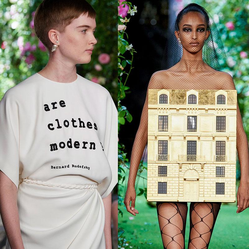 Trái: Chiếc áo lấy cảm hứng từ đoản văn của Bernard Rudofsky. Phải: Trang phục tái hiện mặt tiền cửa hàng Dior trên đường Montaigne. Tượng trưng cho ý nghĩa của quần áo là căn nhà đầu tiên của cơ thể chúng ta.
