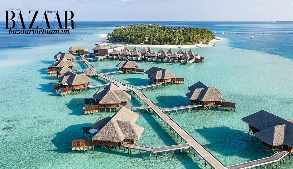 Cảnh quan từ trên không của resort Conrad tại Maldives