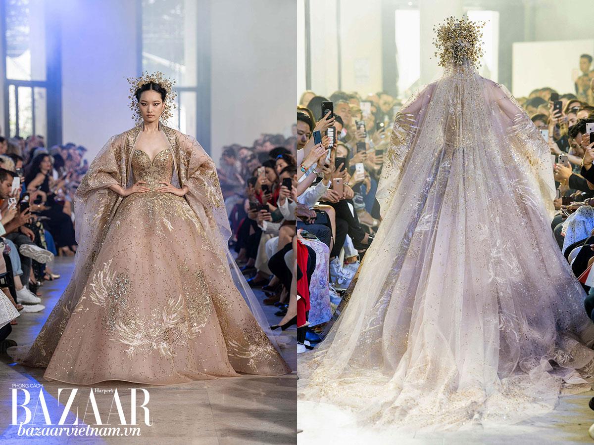 Mẫu thiết kế cuối cùng như một bộ hoàng phục Trung Hoa lai váy công nương Tây Âu