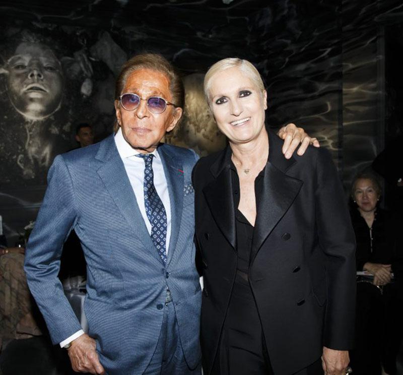 Maria Grazia Chiuri và ông Valentino Garavani, nhà sáng lập thương hiệu Valentino