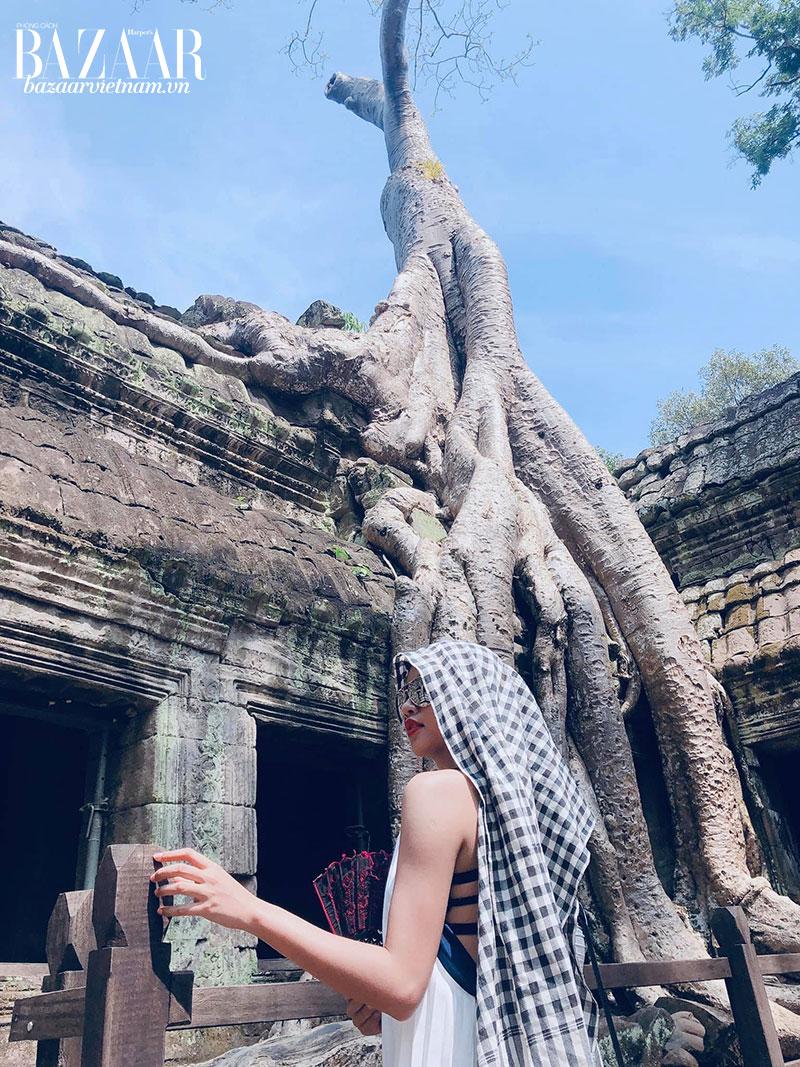 Bên gốc cây ở đền Ta Prohm, địa điểm quay phim Lara Croft: Tomb Raider của Angelina Jolie