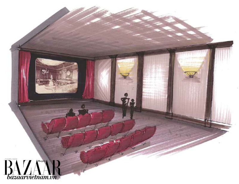 Tại phòng chiếu phim, khách tham quan có thể xem phim về lịch sử của hãng Patek Philippe.
