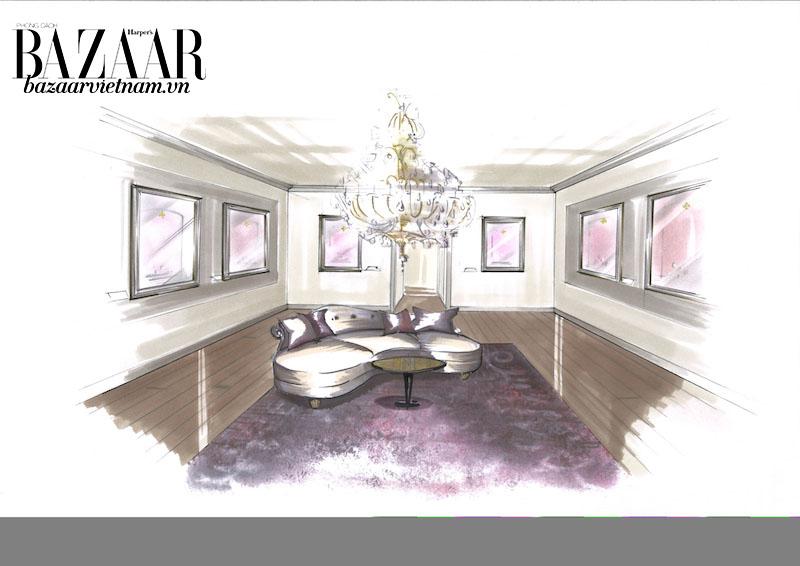 Không gian này dành riêng cho các bộ sưu tập mới nhất hiện có. Nội thất của phòng được lấy cảm hứng trực tiếp từ Salon Patek Philippe trên đường Rue du Rhône ở Geneva.