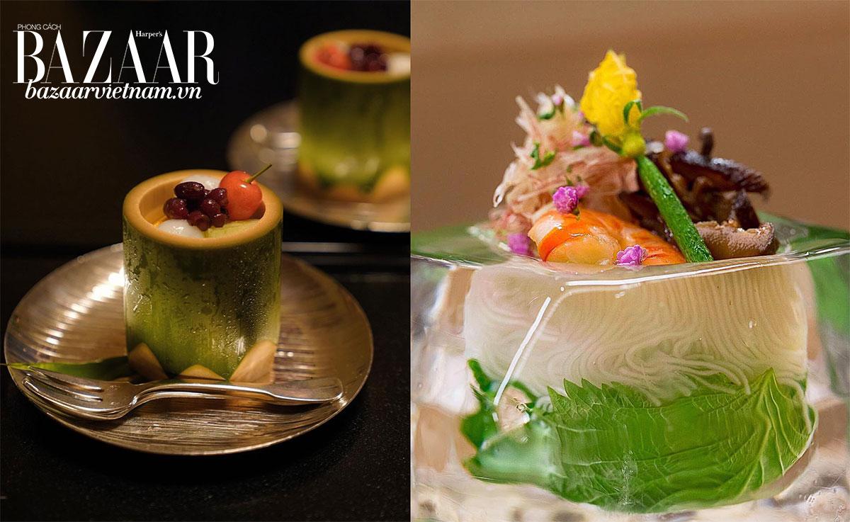 Các món ăn như sản phẩm nghệ thuật tại Kikunoi Honten. Trái: Trái cây, kanten ngọt và mochi. Phải: Mì sợi yuzu đặt trong tô là tảng nước đá.