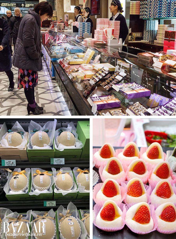 Chỉ cần đi dạo trong depachika của các trung tâm thương mại cũng tốn cả ngày. Dưới: trái cây thượng phẩm của Nhật.