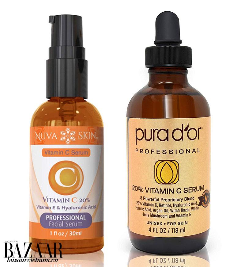 Trái: loại bao bì bảo vệ serum Vitamin C khỏi tiếp xúc với không khí. Phải: Chai thủy tinh sậm màu bảo vệ tinh chất khói ánh sáng mặt trời.