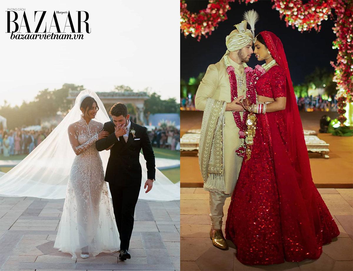 Priyanka Chopra trong váy cưới couture từ Ralph Lauren (trái) và đầm truyền thống của Ấn Độ (phải).