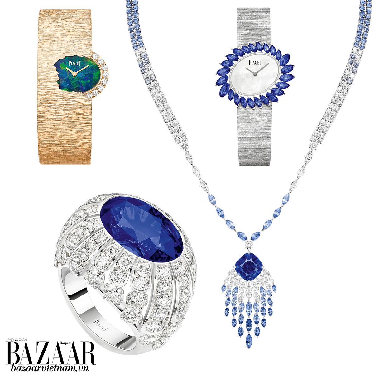 Từ trái sang: Đồng hồ Confidential Waters, nhẫn Diamond Veil, bộ đôi đồng hồ và vòng cổ Blue Waterfall