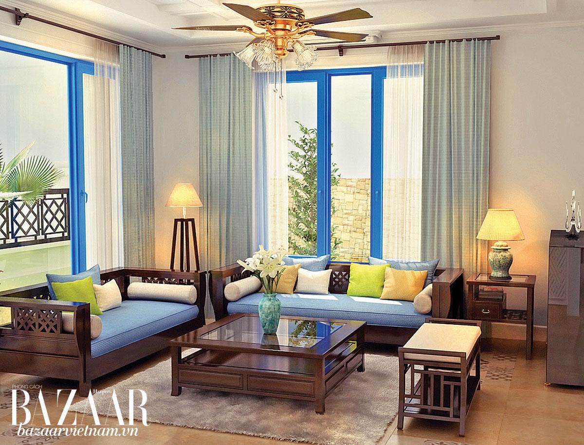 Khung cửa sổ sáng màu tạo nên điểm nhấn cho không gian rộng