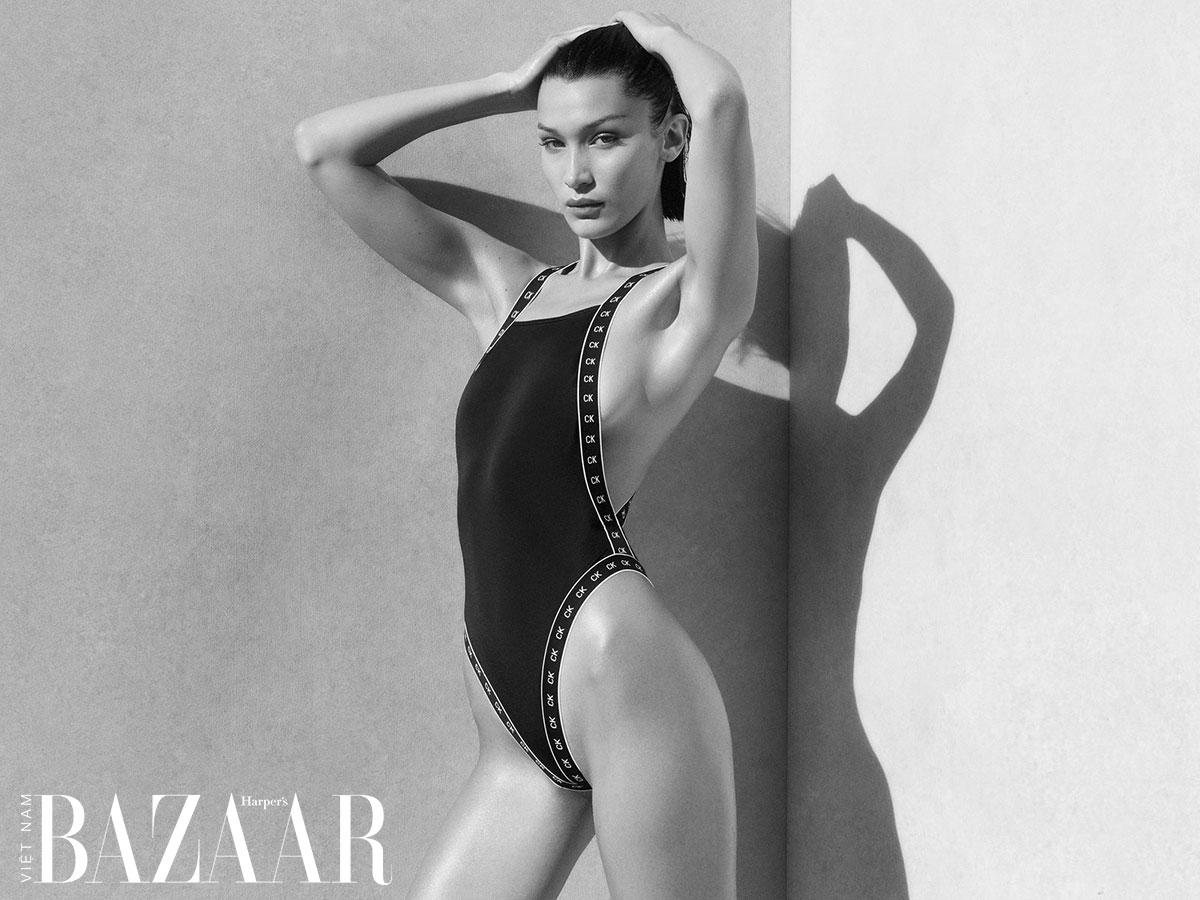 Bella Hadid trong chiến dịch quảng cáo áo bơi Calvin Klein Xuân Hè 2020