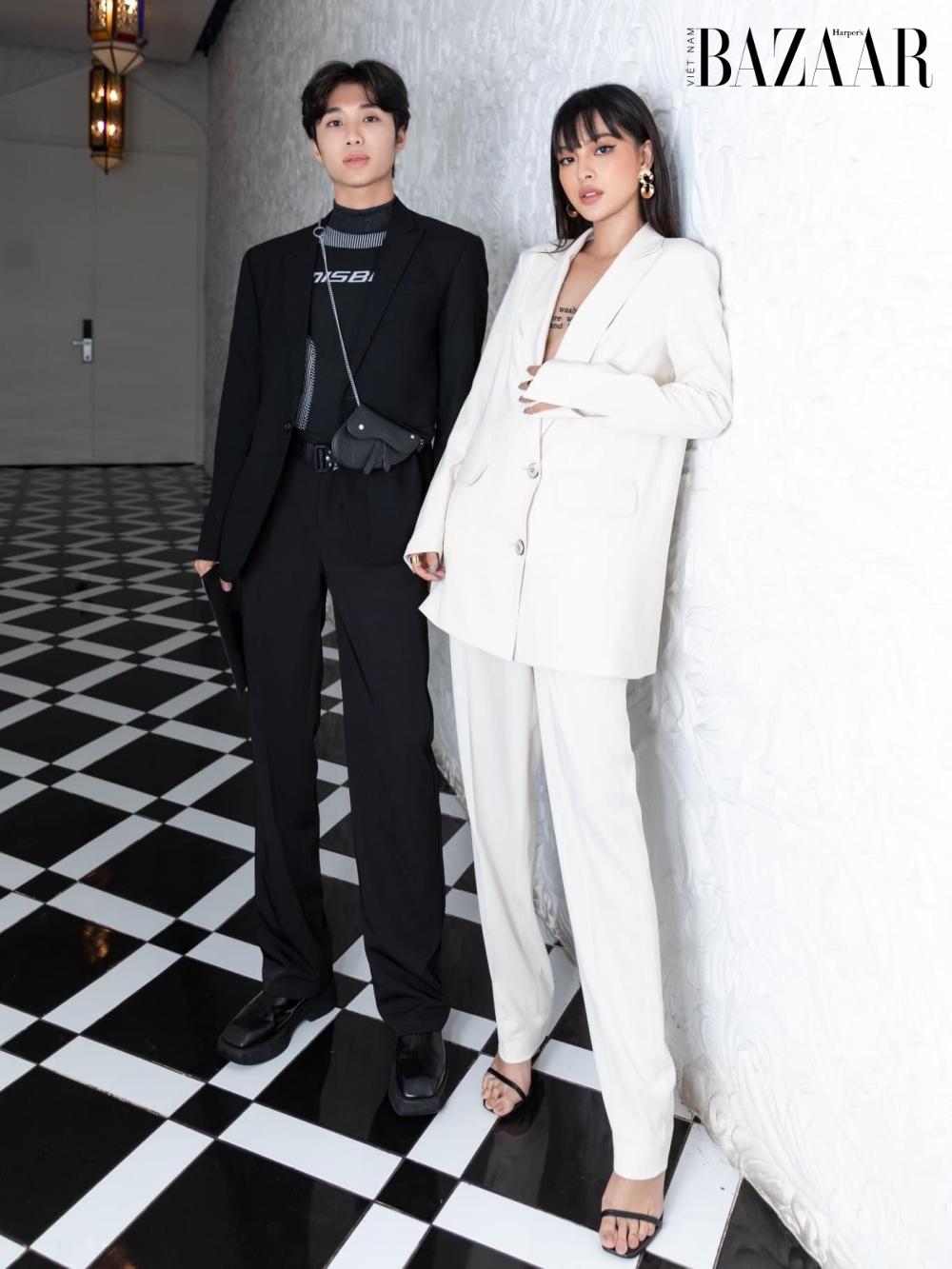 Stylist Phạm Bảo Luận (trái) bên cạnh Tú Hảo