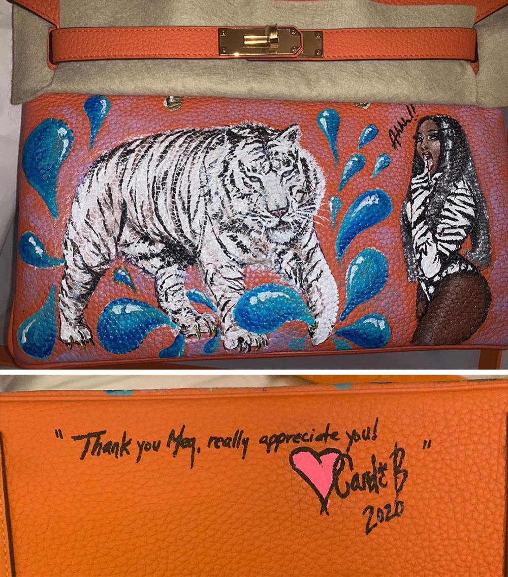 Cardi B tặng Megan Thee Stallion túi Hermès Birkin được chế tác riêng