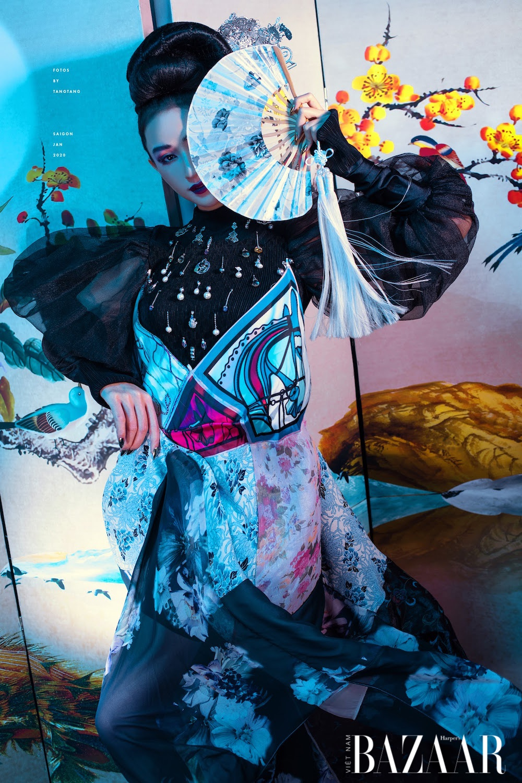 Á hậu Hà Thu ma mị, đẹp hút hồn với phong cách liêu trai đêm Trung Thu