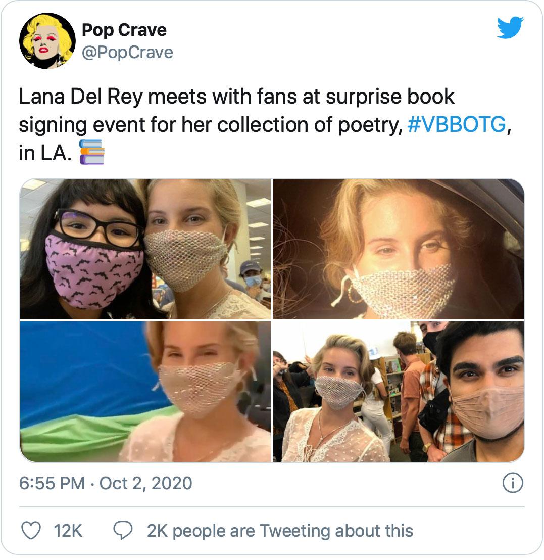 Lana Del Rey đeo khẩu trang lưới đi gặp fan