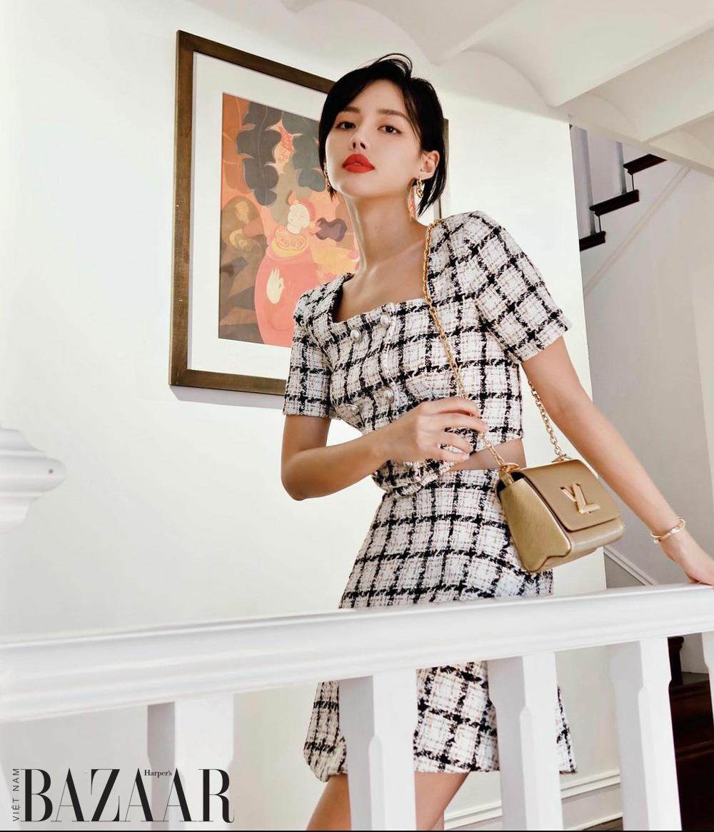 Vải tweed đổ bộ streetstyle mùa thu của sao Việt