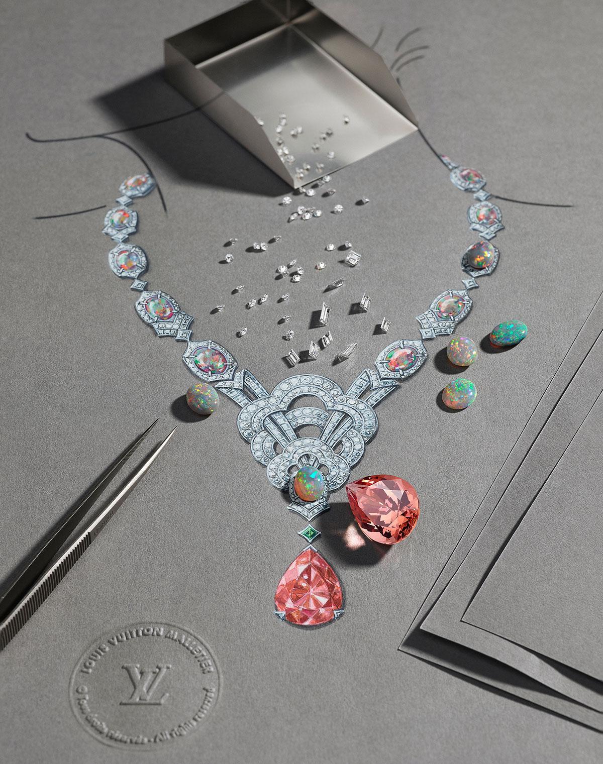 Vòng cổ Louis Vuitton Haute Joaillerie, bộ sưu tập Conquêtes năm 2017. Tâm điểm là viên topaz nặng 37.07 carat và 17 viên đá opal.