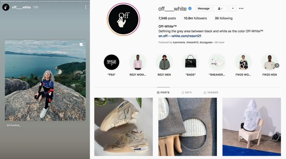 Châu Bùi diện sneaker Off-White, được nhãn hàng chia sẻ lại lên Instagram chính chủ