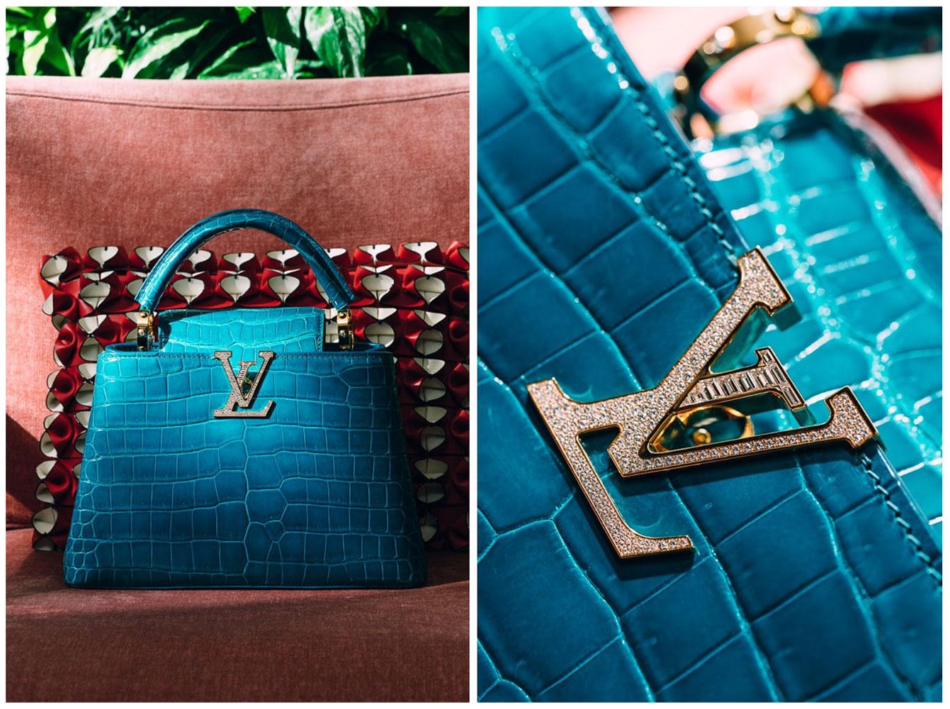 Túi da thuộc exotic: Louis Vuitton Capucines BB bằng da cá sấu Porosus, nạm 5 carat kim cương nhí.