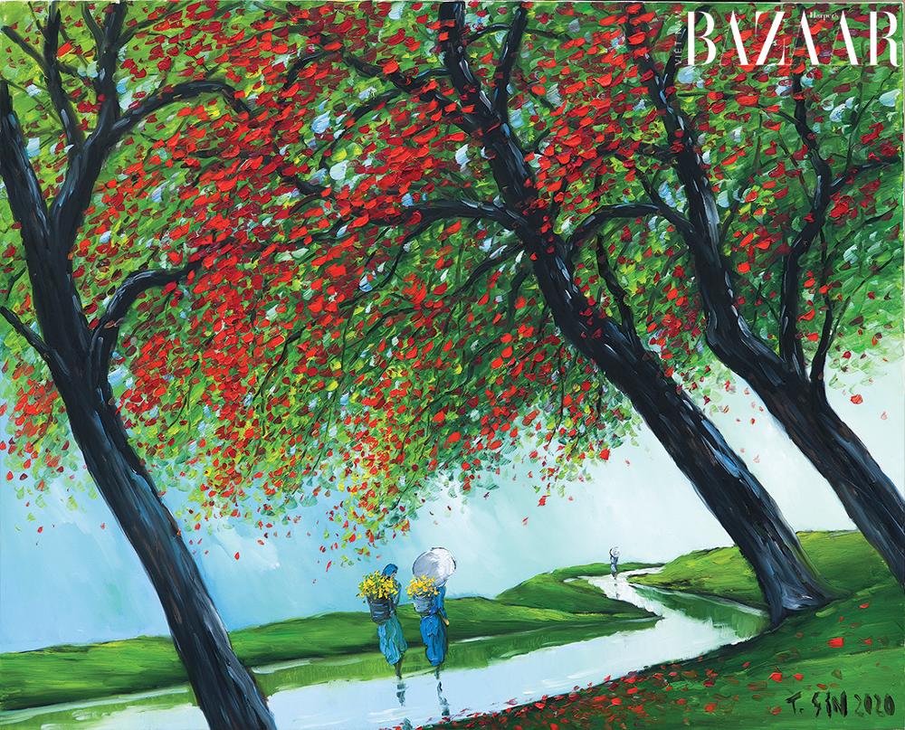 Tranh Mùa Hoa Đỏ của họa sỹ Lê Thanh Sơn