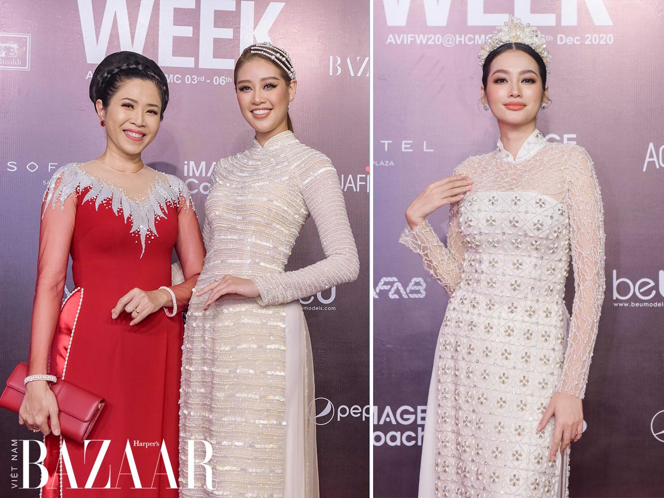 Cách chọn áo dài đi tiệc đẹp như hoa hậu Khánh Vân, Trương Tri Trúc Diễm trên thảm đỏ AVIFW 2020
