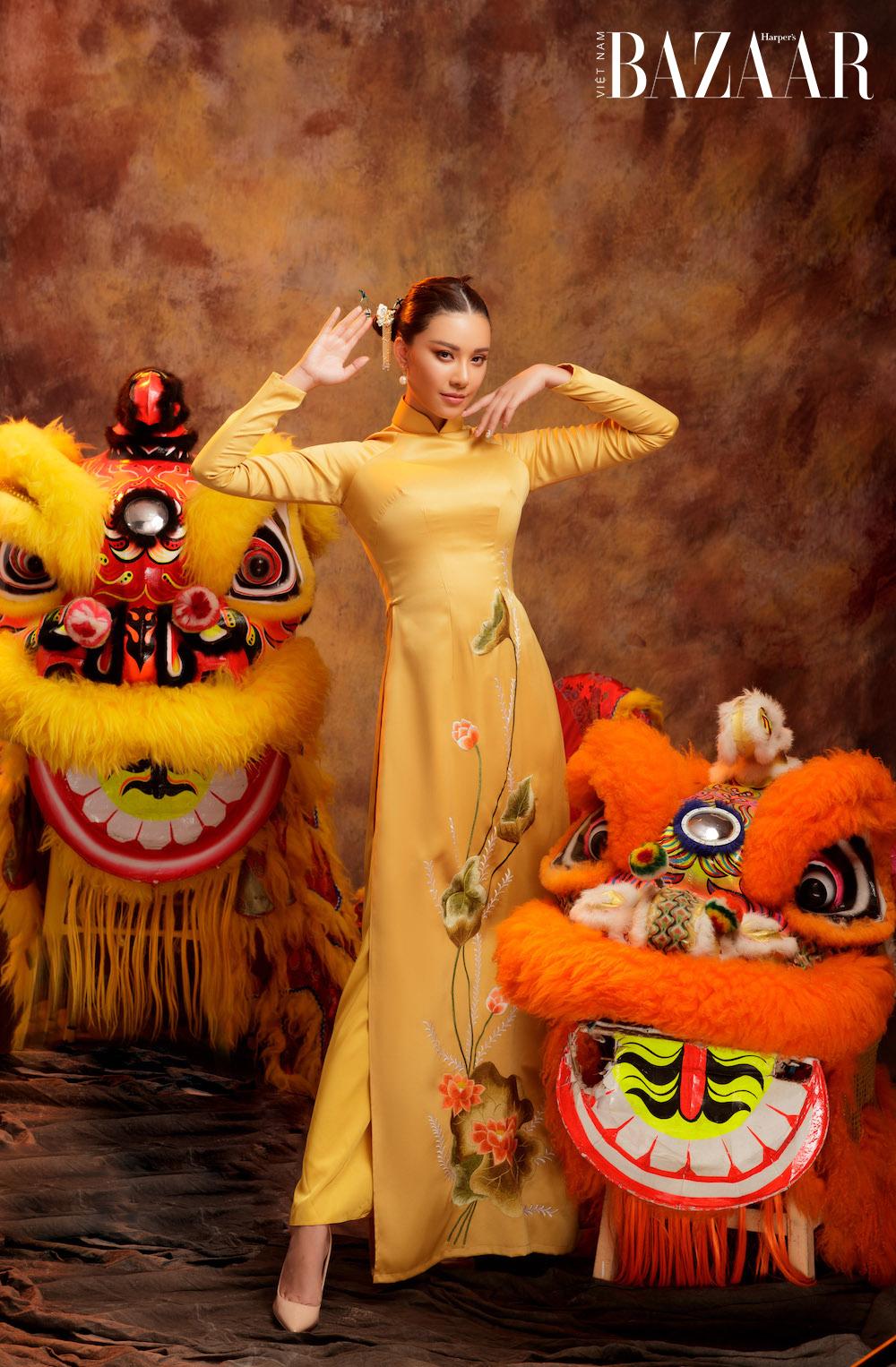Á hậu Kim Duyên rạng ngời với áo dài xuân của Đức Vincie 5