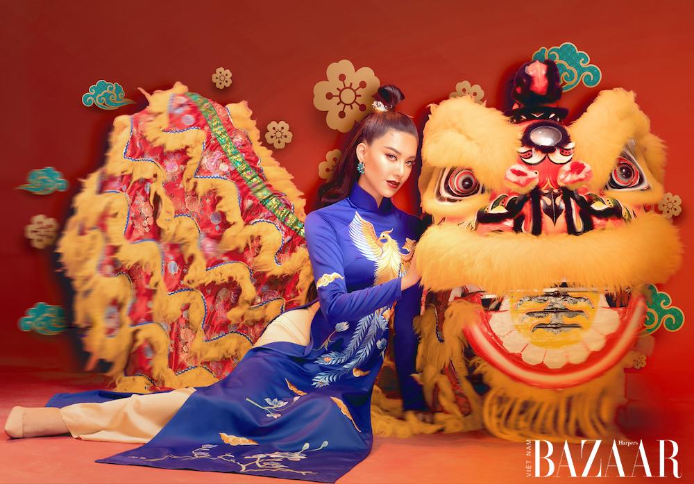 Á hậu Kim Duyên rạng ngời với áo dài xuân của Đức Vincie 4