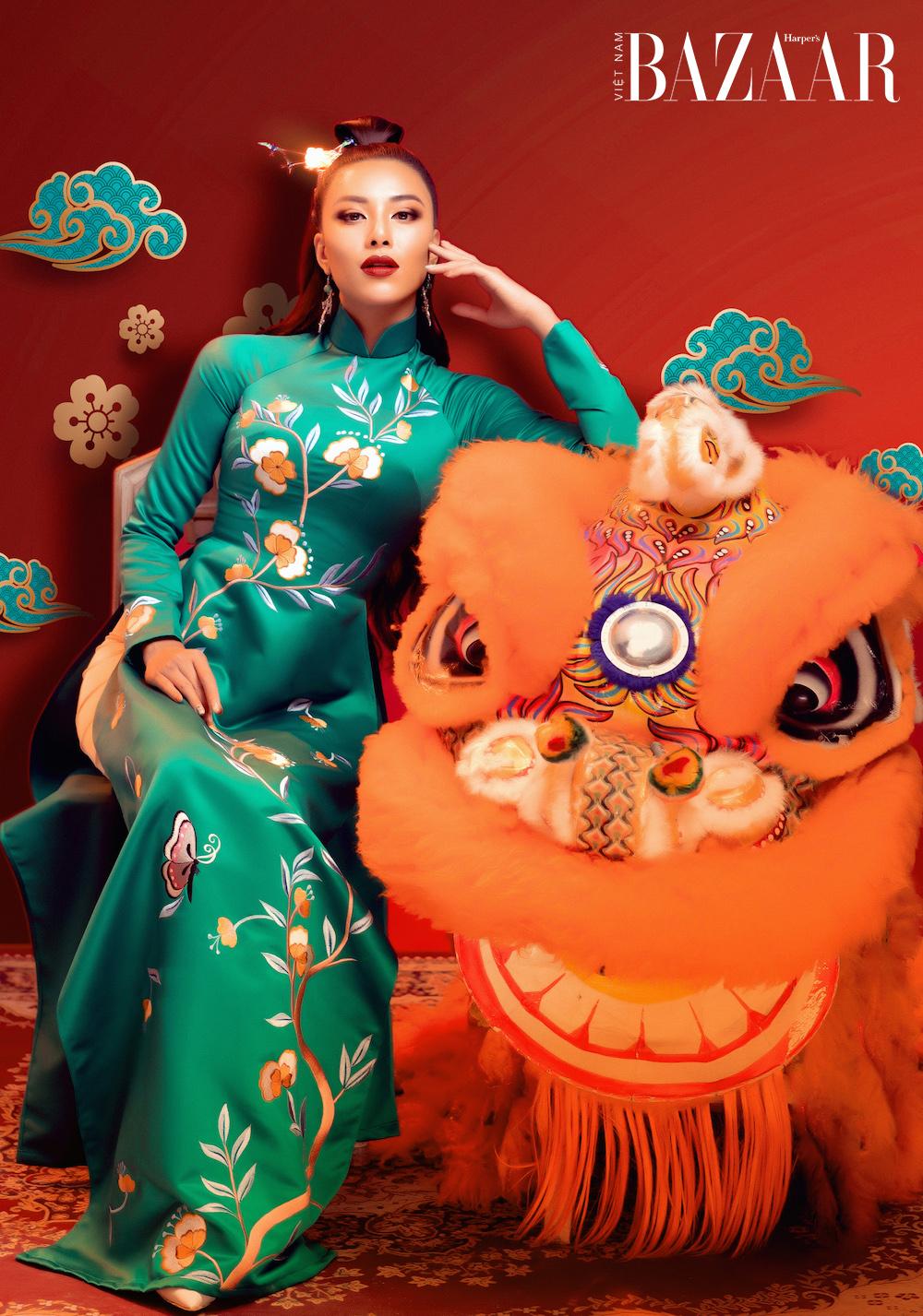 Á hậu Kim Duyên rạng ngời với áo dài xuân của Đức Vincie