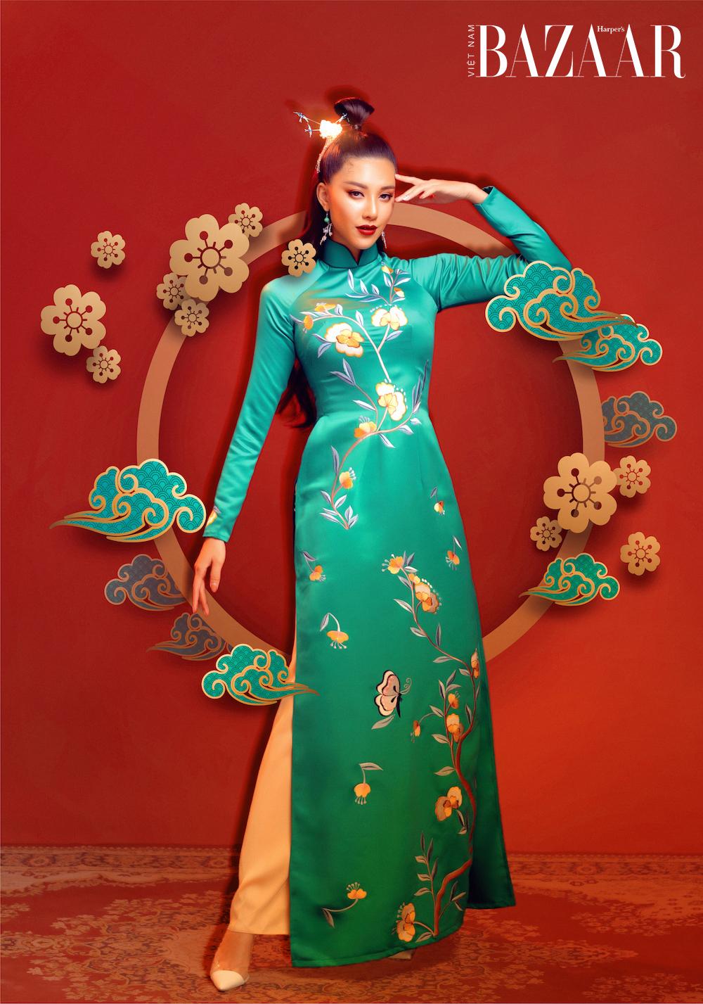 Á hậu Kim Duyên rạng ngời với áo dài xuân của Đức Vincie 2