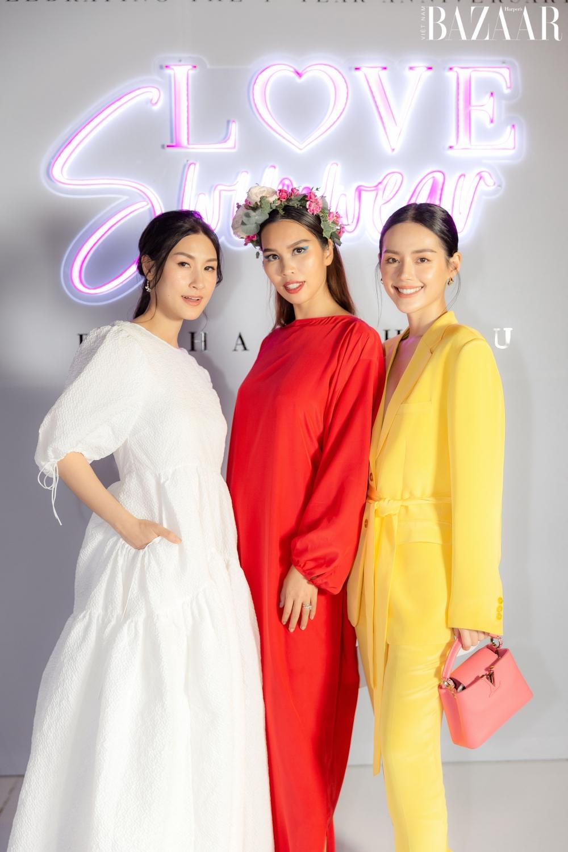 Từ trái sang: Diễn viên Kathy Uyên, siêu mẫu Hà Anh, fashionista Khánh Linh.