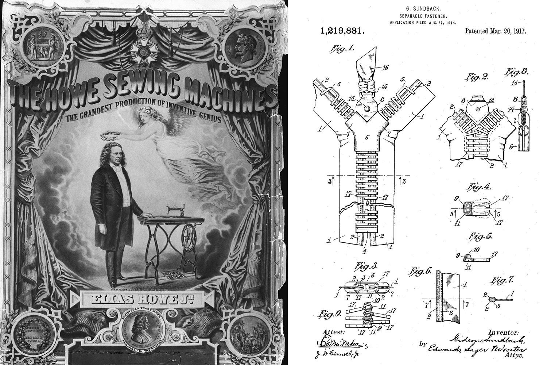 Trái: Poster quảng cáo chiếc máy may của Elias Howe. Ảnh: Bettmann Archive / Getty Images. Phải: Sơ đồ miêu tả dây khóa kéo trong bằng sáng chế cấp cho Gideon Sundback. Ảnh: Wikimedia Commons