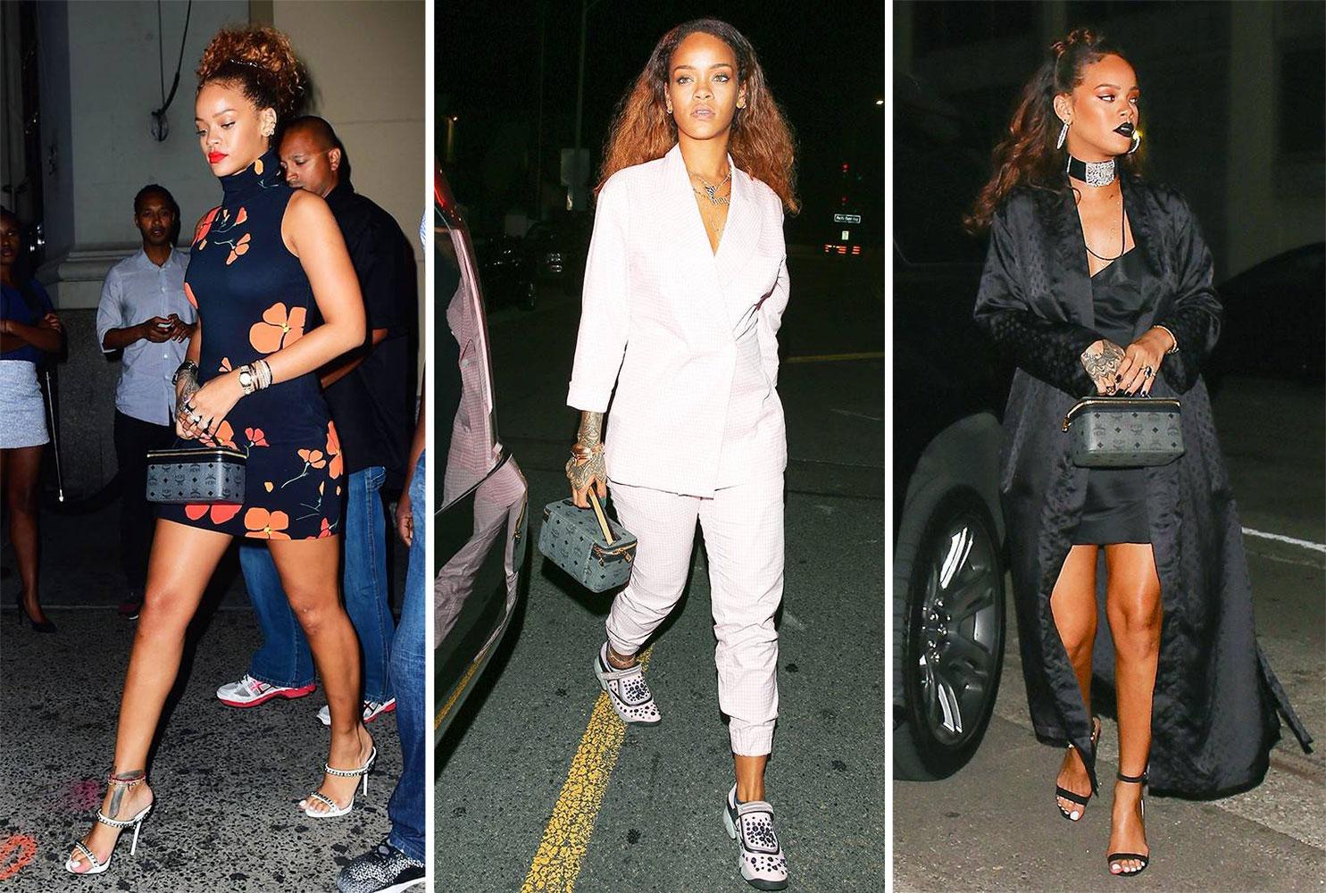 Rihanna và mẫu túi Rockstar Vanity Bag ưa thích từ MCM. Ảnh: MCM