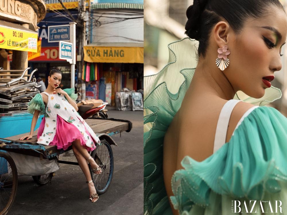 Thiết kế đầm ngắn lạ mắt nổi bật giữa phố phường Long Xuyên.