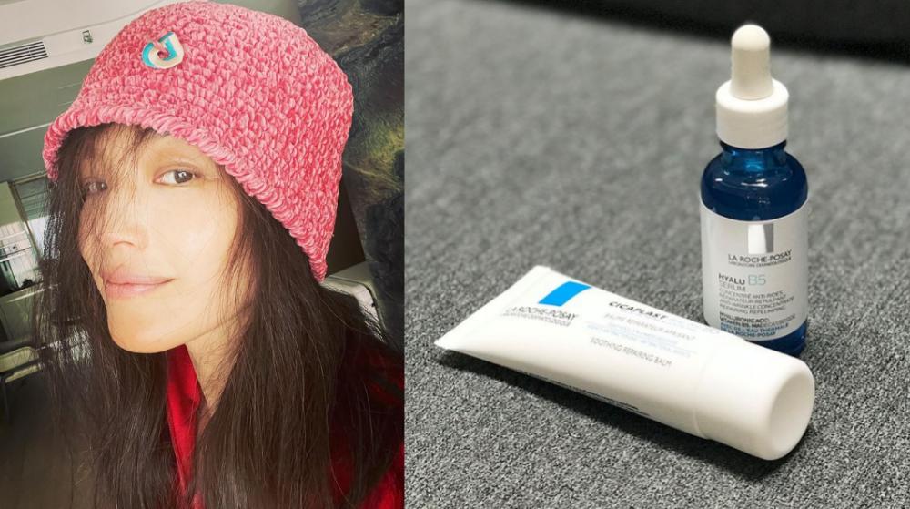 Thư Kỳ khoe da mặt và kem dưỡng da yêu thích vào tháng 1/2021. Ảnh: Instagram @sqwhat.