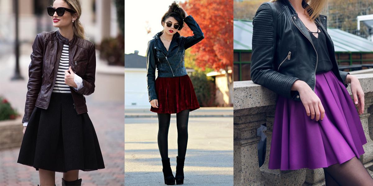 Áo khoác da kết hợp với váy xòe cổ điển