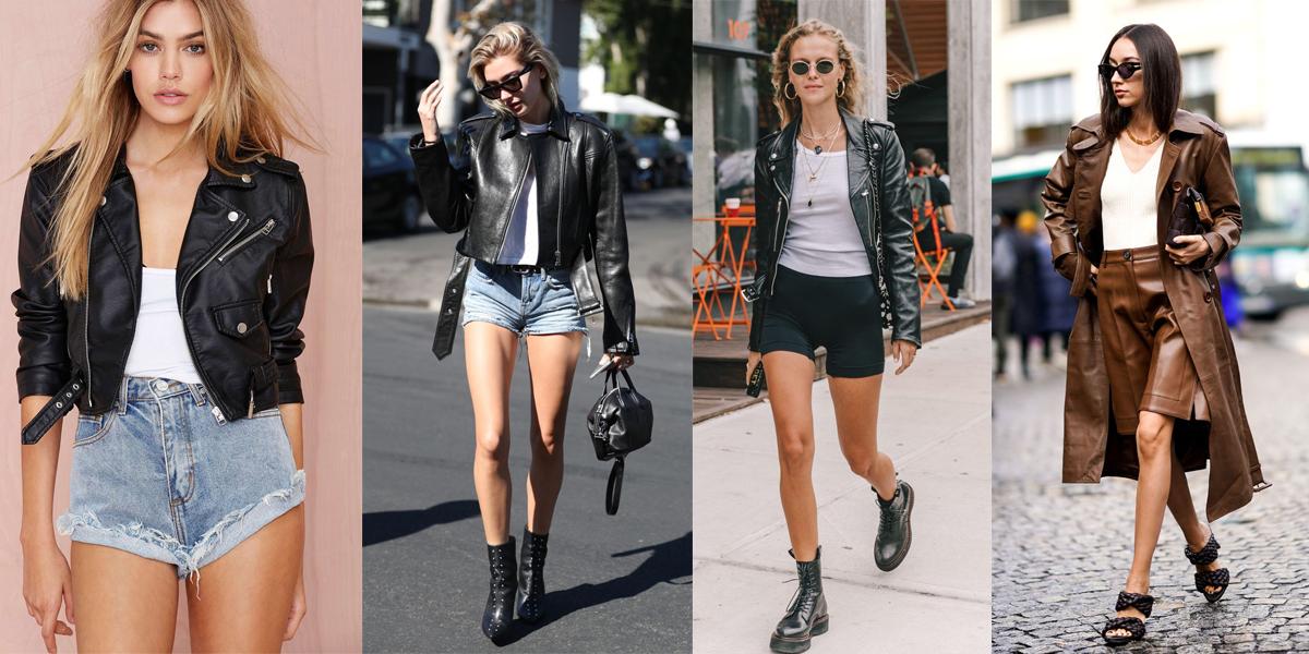 áo khoác da và quần short