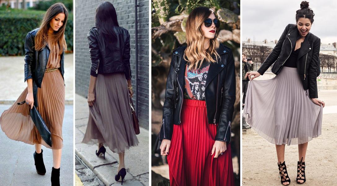Váy xếp pli và cách mặc đẹp với áo khoác da
