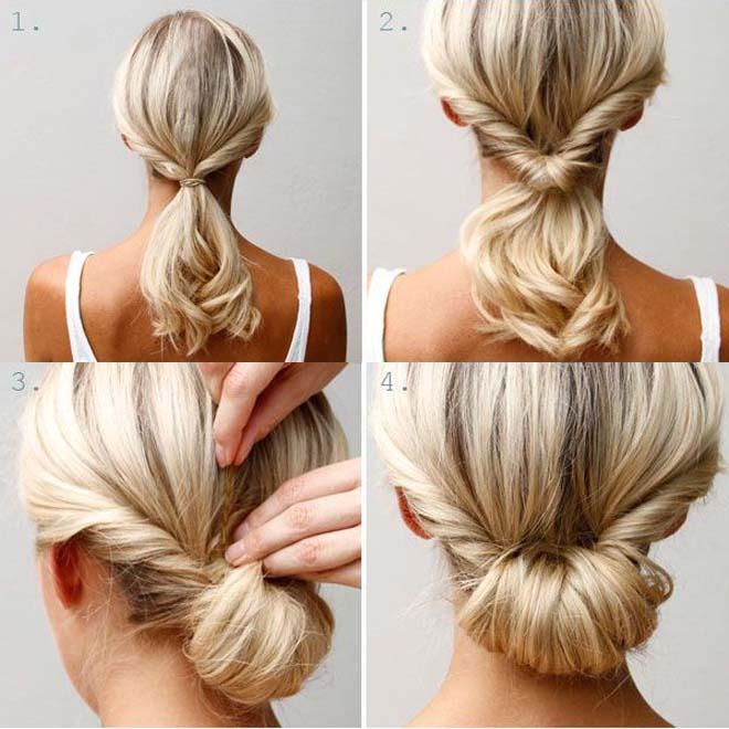 Cách búi tóc đẹp và đơn giản kiểu cuộn nếp