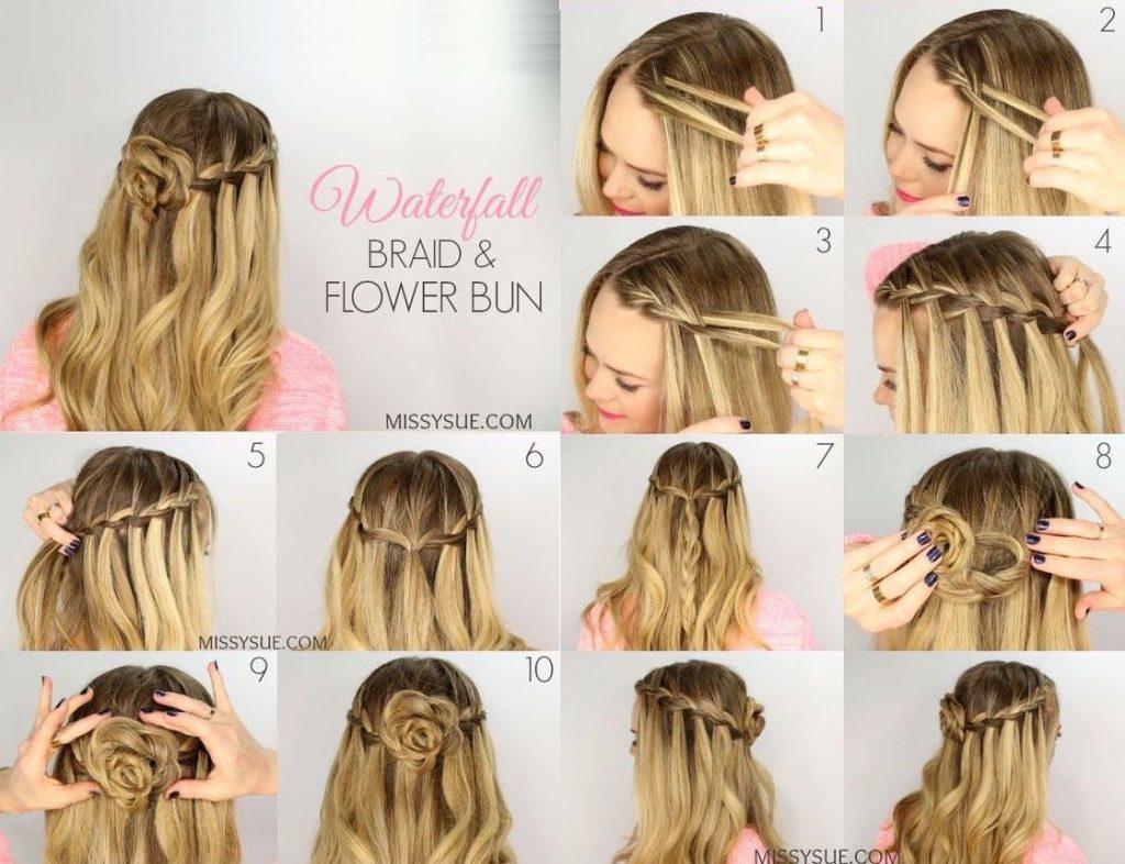 Cách thắt bím tóc hình bông hoa