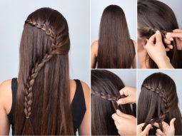 cách thắt bím tóc thác nước