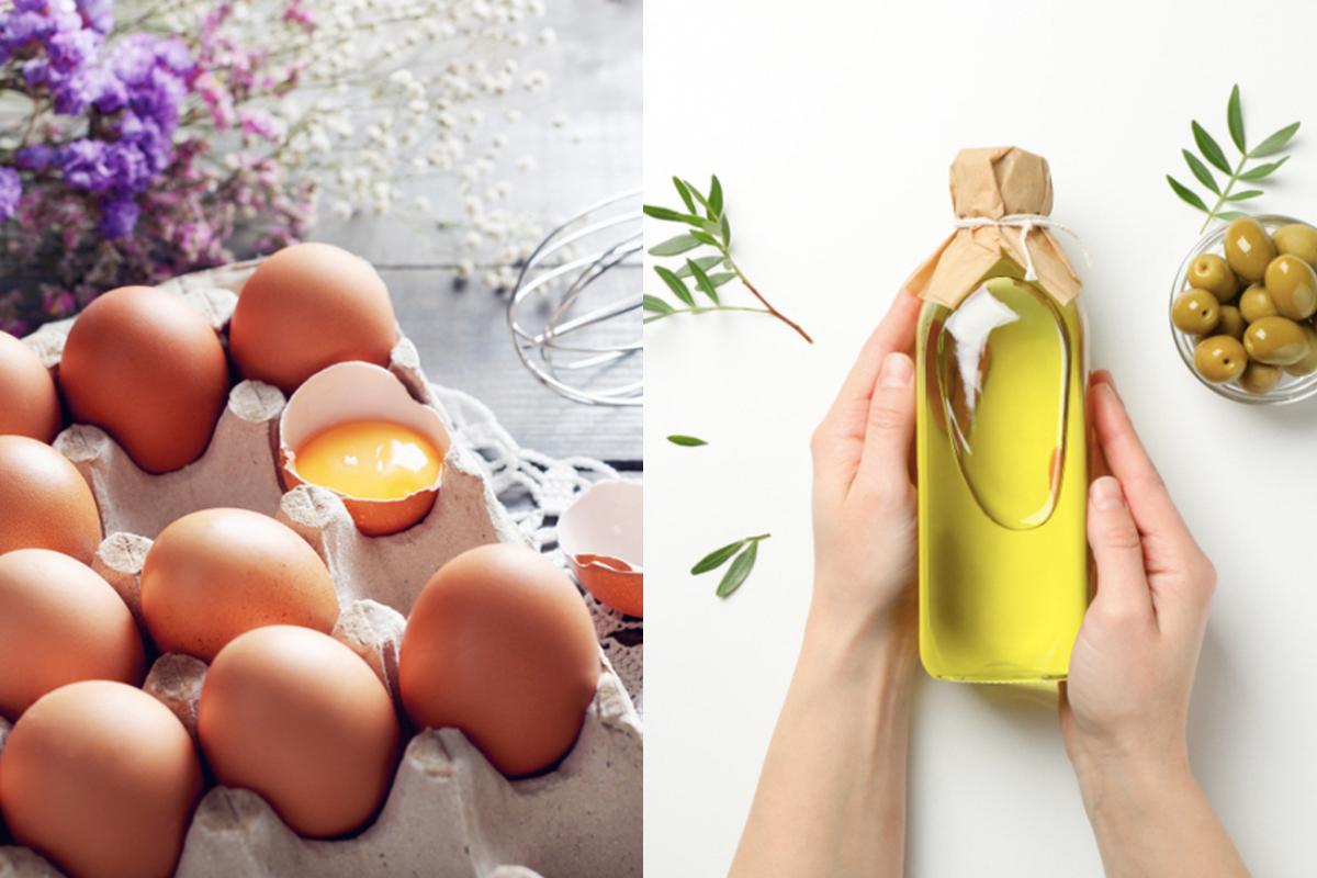 trứng và dầu oliu