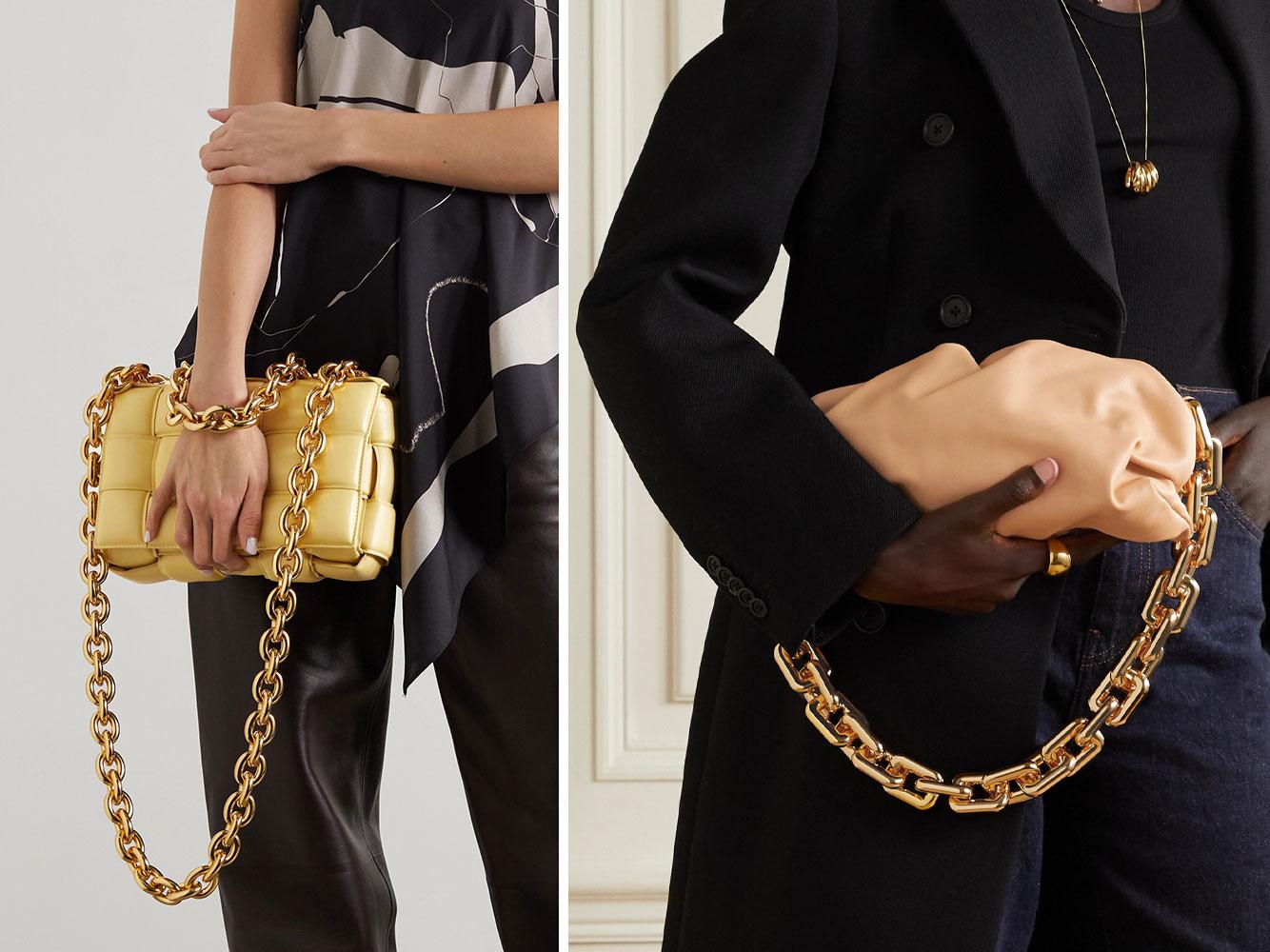 Bottega Veneta dẫn đầu xu hướng túi xách 2021 với các mẫu túi có quai đeo hình mắt xích to bản. Trái: Túi Bottega Veneta Chain Cassette. Phải: Túi Chain Pouch. Ảnh: Net-A-Porter