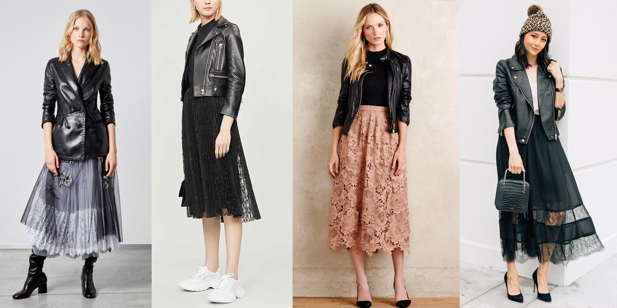 áo khoác da phối cùng váy ren nữ tính