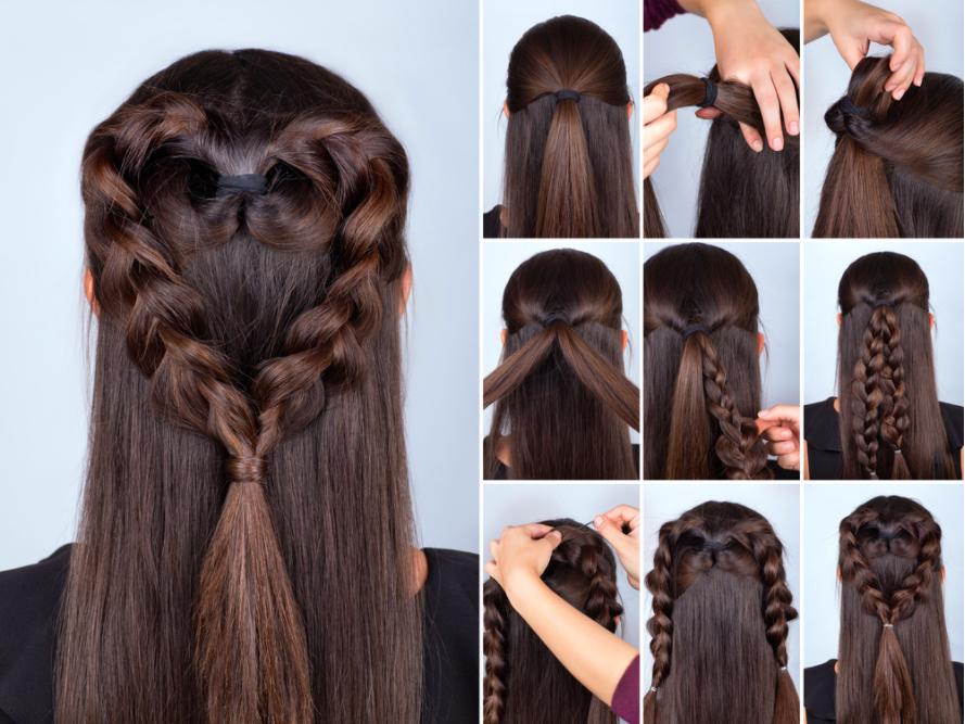 các kiểu tóc đơn giản tự làm: tết trái tim