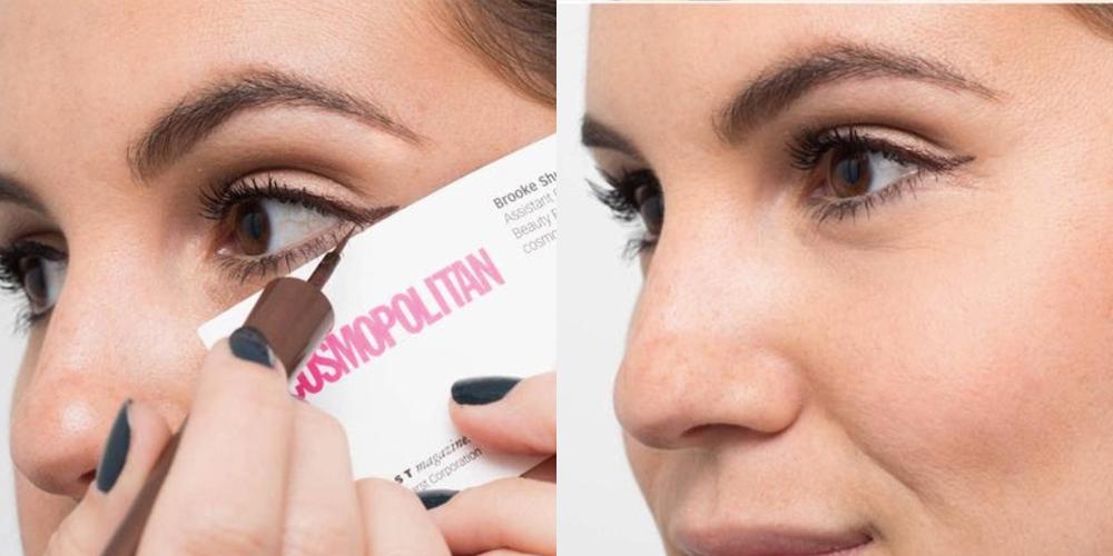 Cách vẽ eyeliner bằng bút nước với tấm danh thiếp