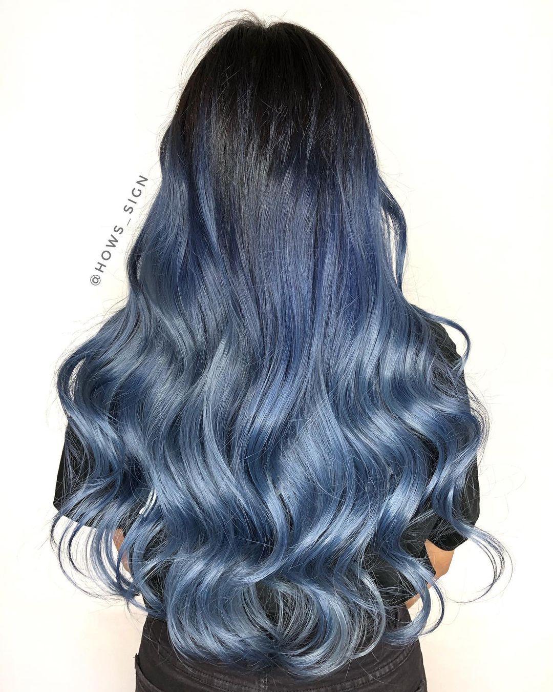Nhuộm tóc ombre màu xanh khói