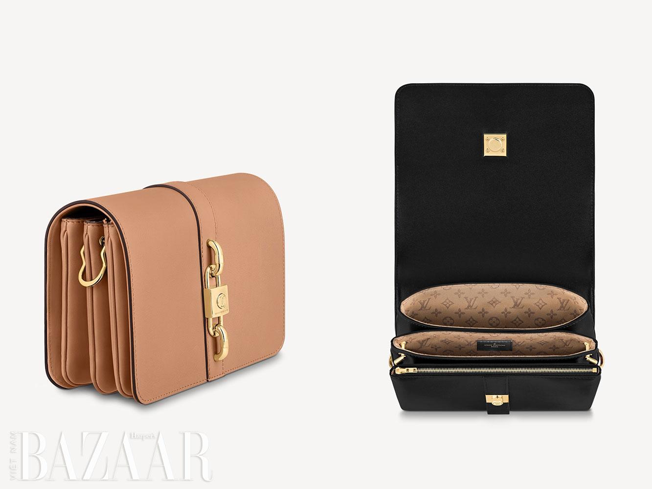 Chi tiết bên trong và từ bên hông của mẫu túi Louis Vuitton Rendez-Vous.